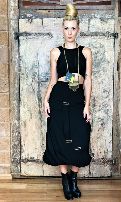 Buckle Twist Skirt - Black