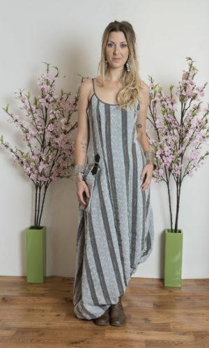 Gail Dress - Silver Stripe