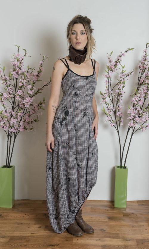 Gail Dress - Check Flower