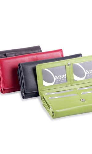 Oran Cher Leather Wallet - Lime