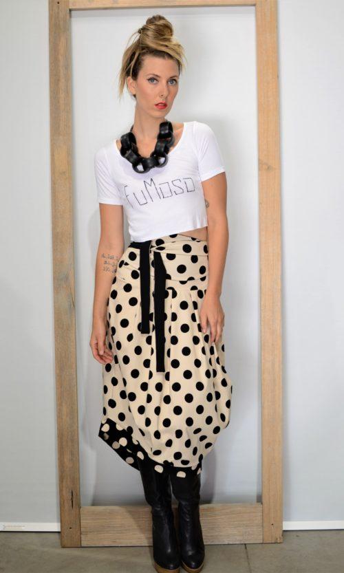One Skirt - Camel/Black Dot
