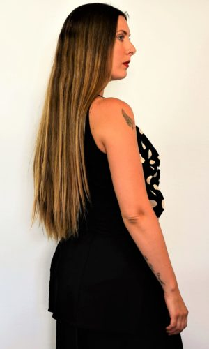Lena Top (Long) - Black/Camel Dot