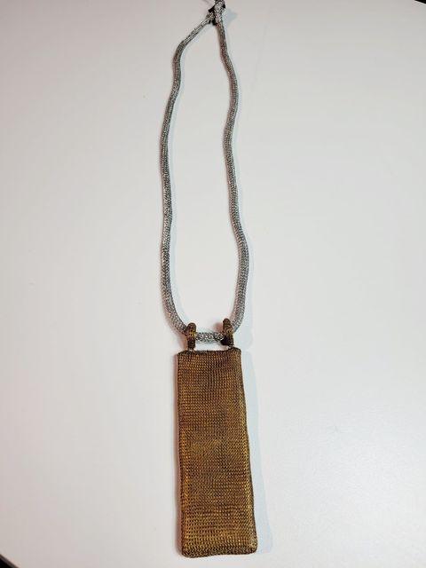 Rectangle Drop Necklace-Brass